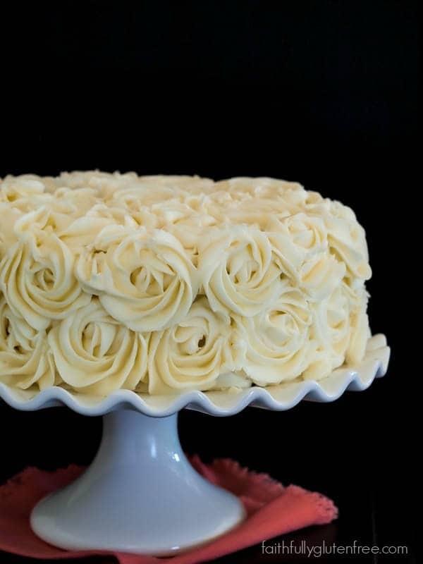 Gluten Free Vanilla Layer Cake {with rose decorating tutorial}