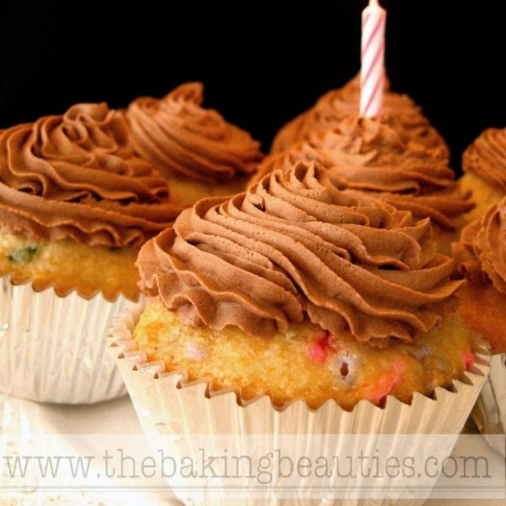 Gluten Free Confetti Cupcakes with Cocoa Whipped Cream Icing