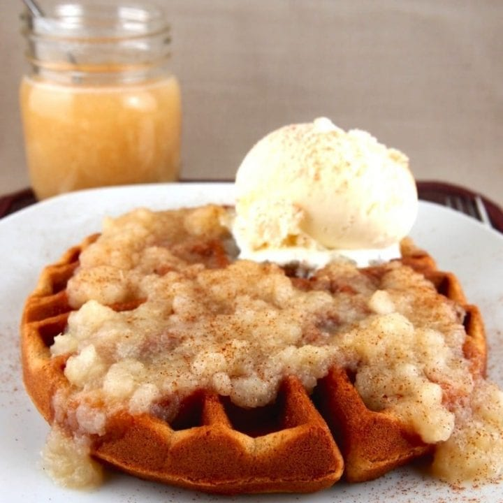 Gluten-free Gingerbread Waffles with Pear Sauce