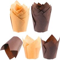 TecUnite 200 Pieces Tulip Cupcake Liner Baking Cups Paper Cupcake and Muffin Baking Cups for Weddings and Birthday (Brown and Nature Color)