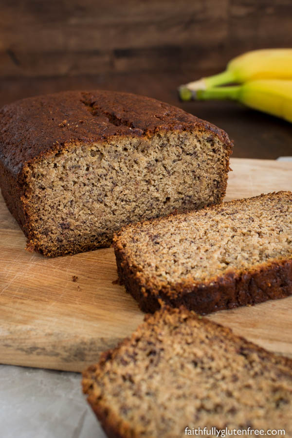 A sliced loaf of gluten free banana bread