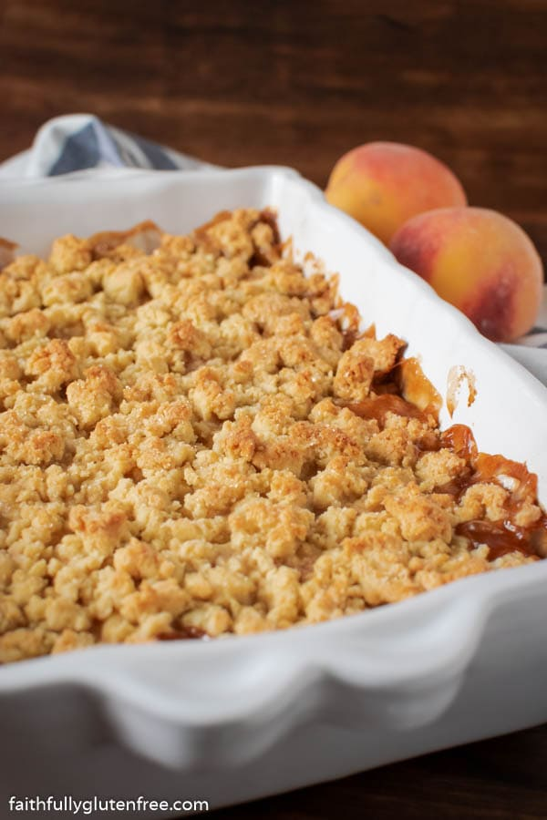 a baking pan of peach cobbler