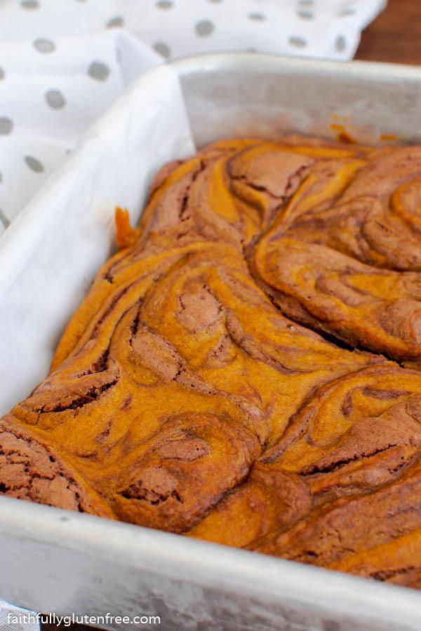 A pan of pumpkin swirl brownies