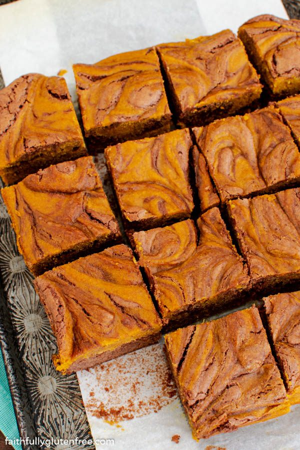 A pan of pumpkin swirl brownies cut into squares