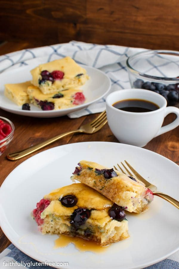 Sheet Pan pancakes with blueberries