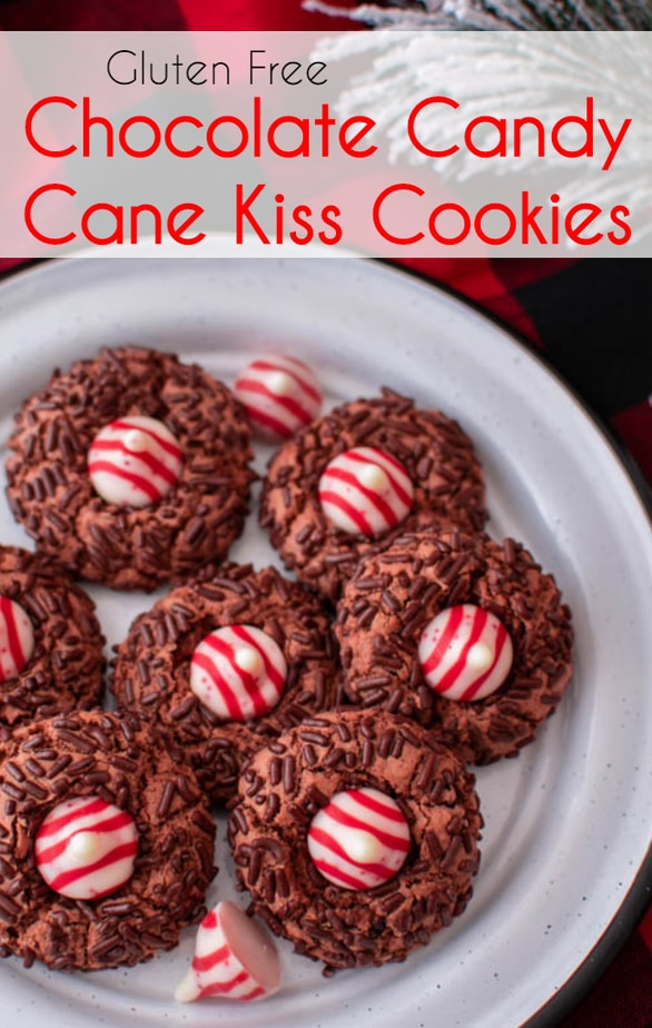 Gluten Free Chocolate Candy Cane Kiss Cookies recipe