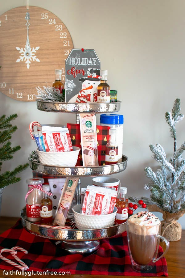 A tiered stand full of hot chocolate fixings