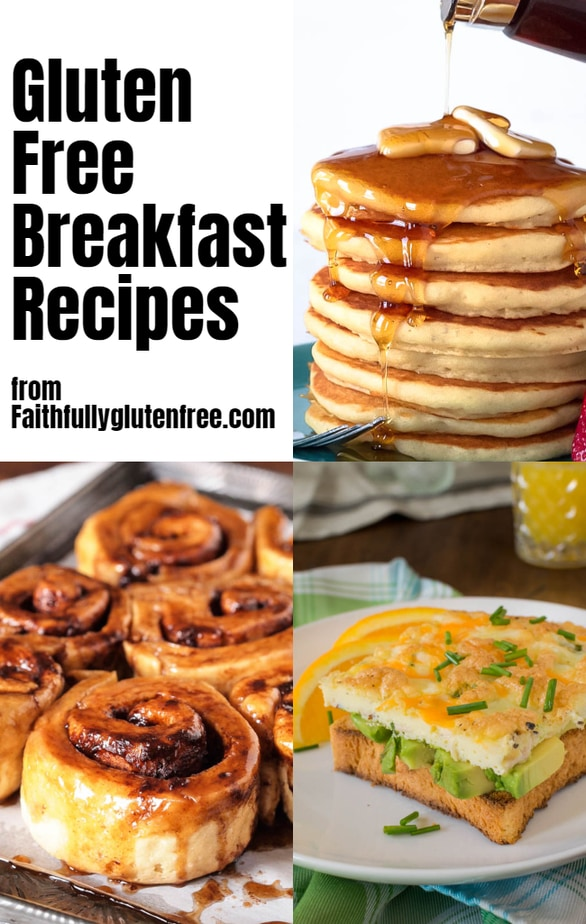 a collage of gluten free breakfast foods