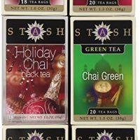 Stash Tea 6-Flavor Assortment Tea Chai Lovers 6 Count Tea Bags Individual Tea Bag Variety Pack, Use in Teapots Mugs or Cups, Brew Hot Tea or Iced Tea