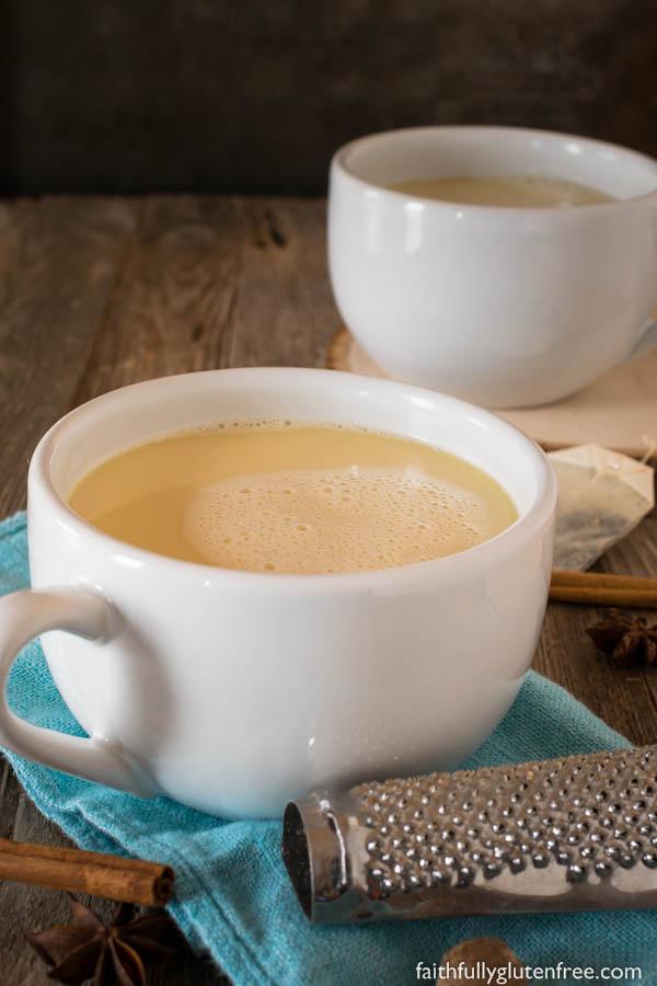 Large mugs of chai white hot chocolate