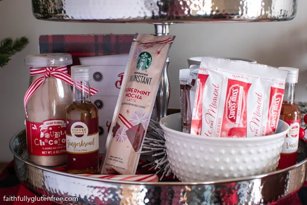 A hot chocolate bar on a tiered stand