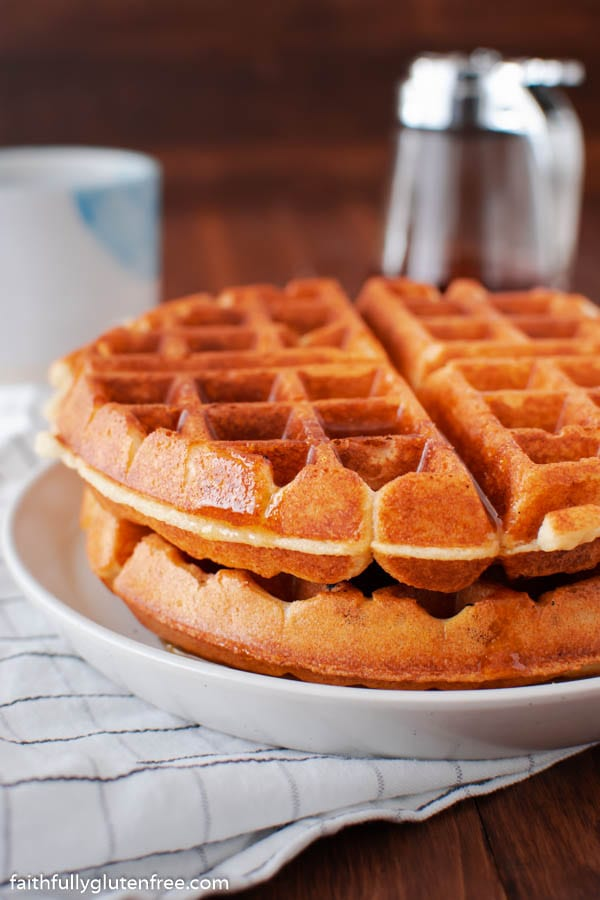a stack of Belgian waffles