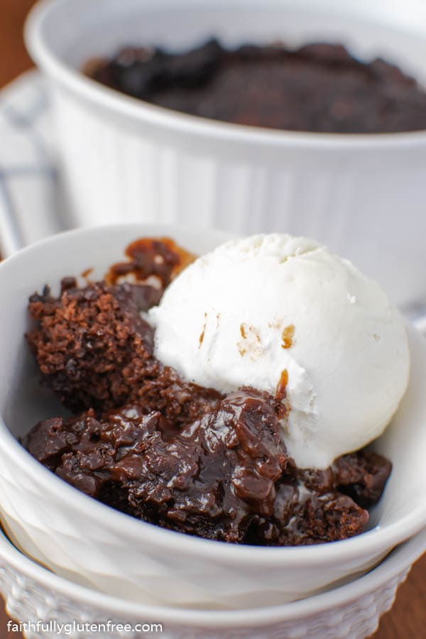 a bowl of chocolate pudding cake