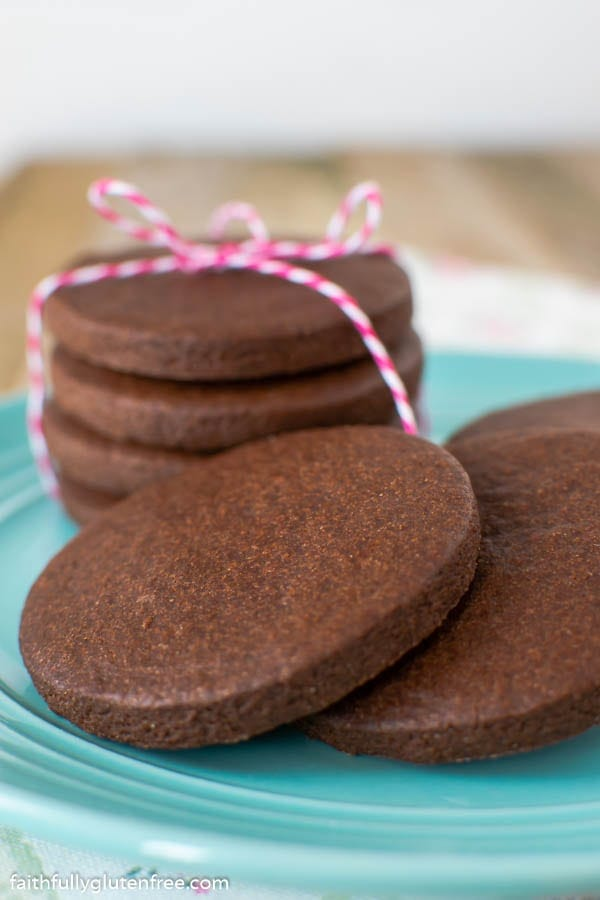 stack of chocolate sugar cookies