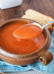 This Creamy Gluten Free and Dairy Free Tomato Soup is the perfect comfort food for those nights you need a quick meal. Some gluten free crackers or grilled cheese, and you're set!